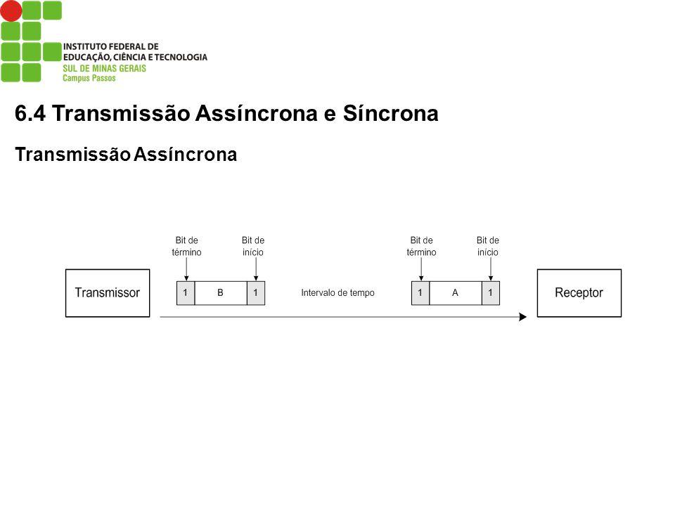 6.4 Transmissão Assíncrona e Síncrona Transmissão Assíncrona
