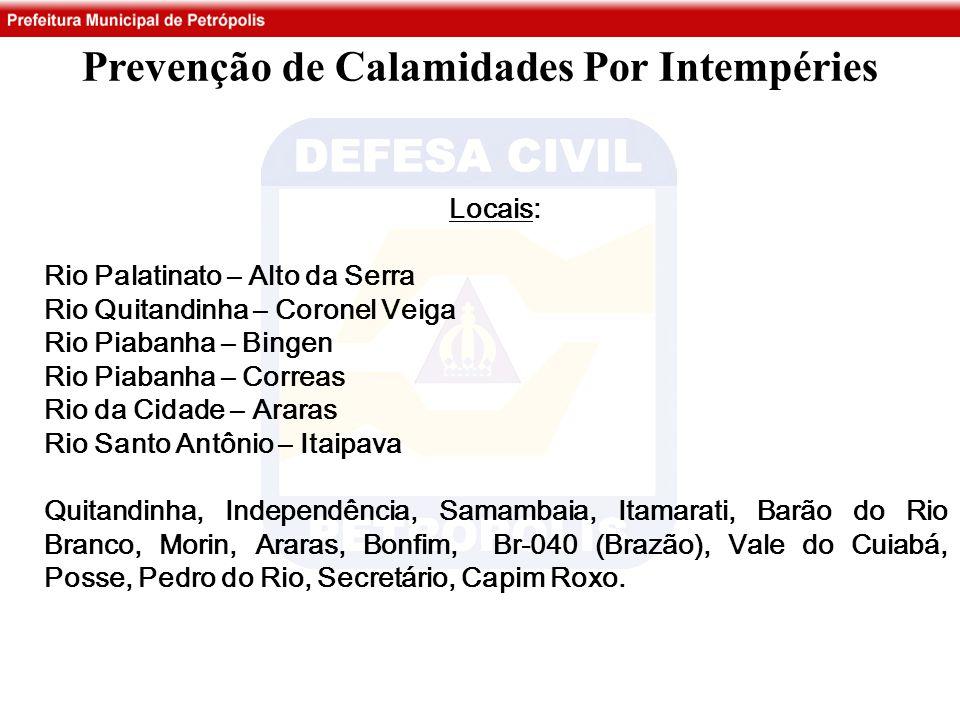 Prevenção de Calamidades Por Intempéries Locais: Rio Palatinato – Alto da Serra Rio Quitandinha – Coronel Veiga Rio Piabanha – Bingen Rio Piabanha – C