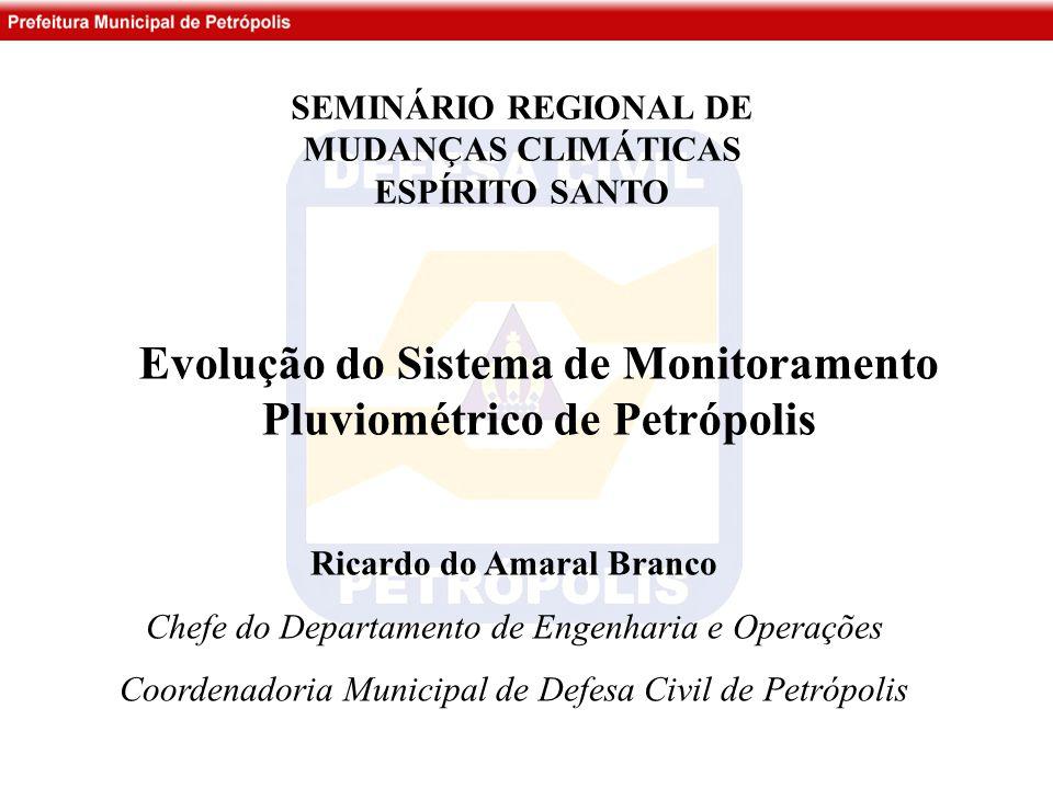 Ricardo do Amaral Branco Chefe do Departamento de Engenharia e Operações Coordenadoria Municipal de Defesa Civil de Petrópolis Evolução do Sistema de