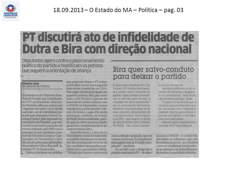 18.09.2013 – Jornal Pequeno – Geral – pag. 09
