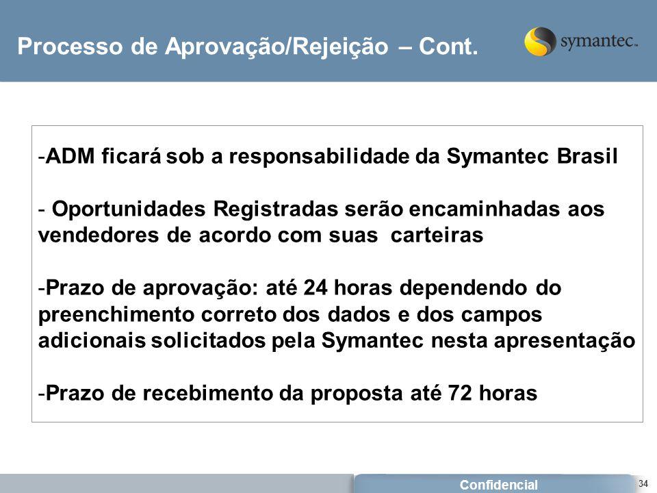 Confidencial 34 Processo de Aprovação/Rejeição – Cont. -ADM ficará sob a responsabilidade da Symantec Brasil - Oportunidades Registradas serão encamin