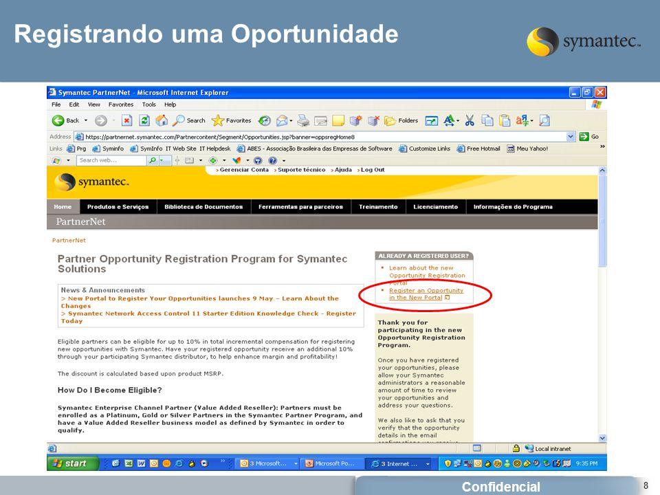 Confidencial 8 Registrando uma Oportunidade