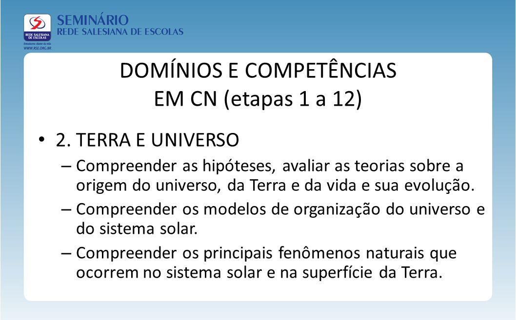 DOMÍNIOS E COMPETÊNCIAS EM CN (etapas 1 a 12) 2. TERRA E UNIVERSO – Compreender as hipóteses, avaliar as teorias sobre a origem do universo, da Terra