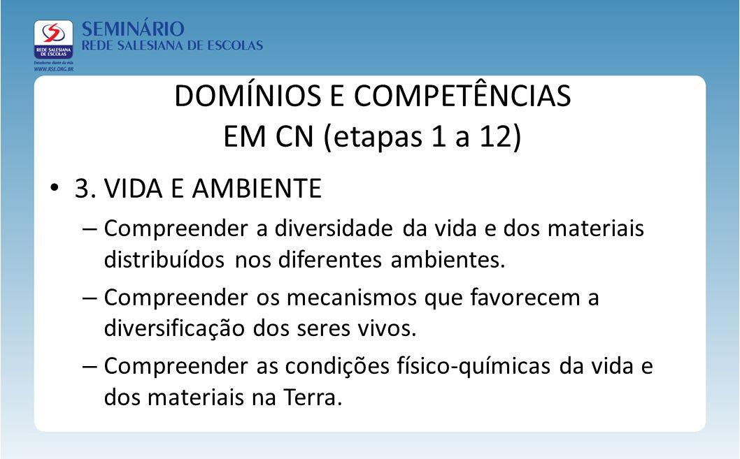 DOMÍNIOS E COMPETÊNCIAS EM CN (etapas 1 a 12) 3. VIDA E AMBIENTE – Compreender a diversidade da vida e dos materiais distribuídos nos diferentes ambie