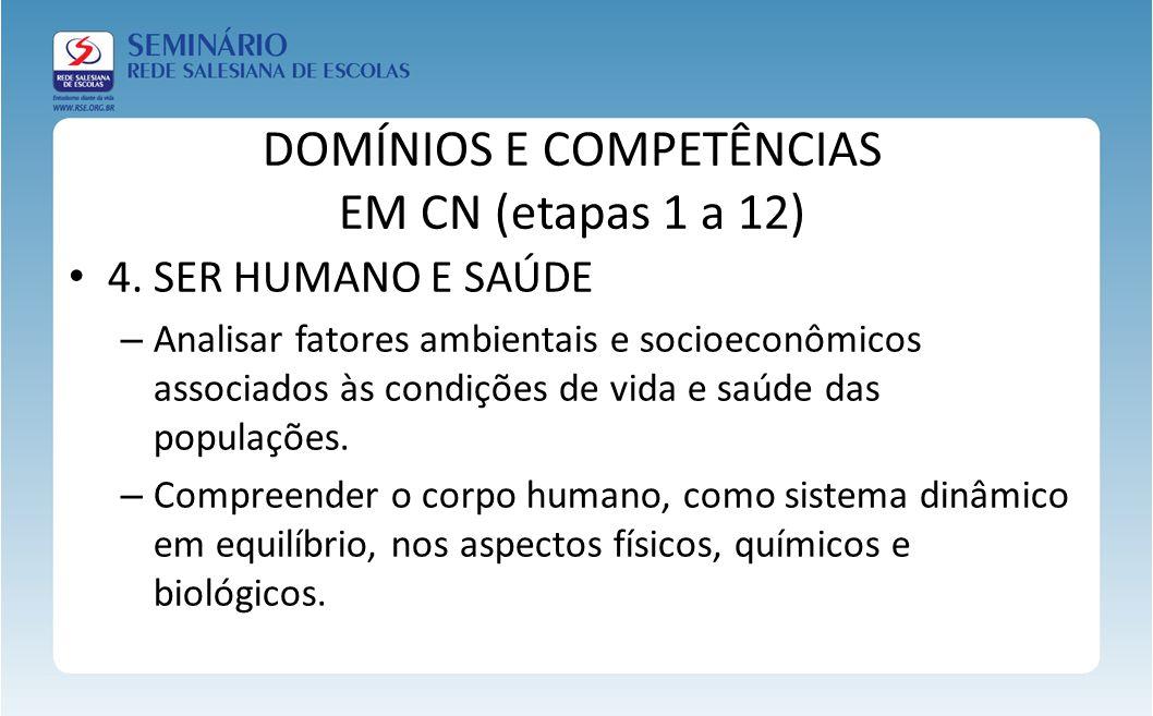 DOMÍNIOS E COMPETÊNCIAS EM CN (etapas 1 a 12) 4. SER HUMANO E SAÚDE – Analisar fatores ambientais e socioeconômicos associados às condições de vida e