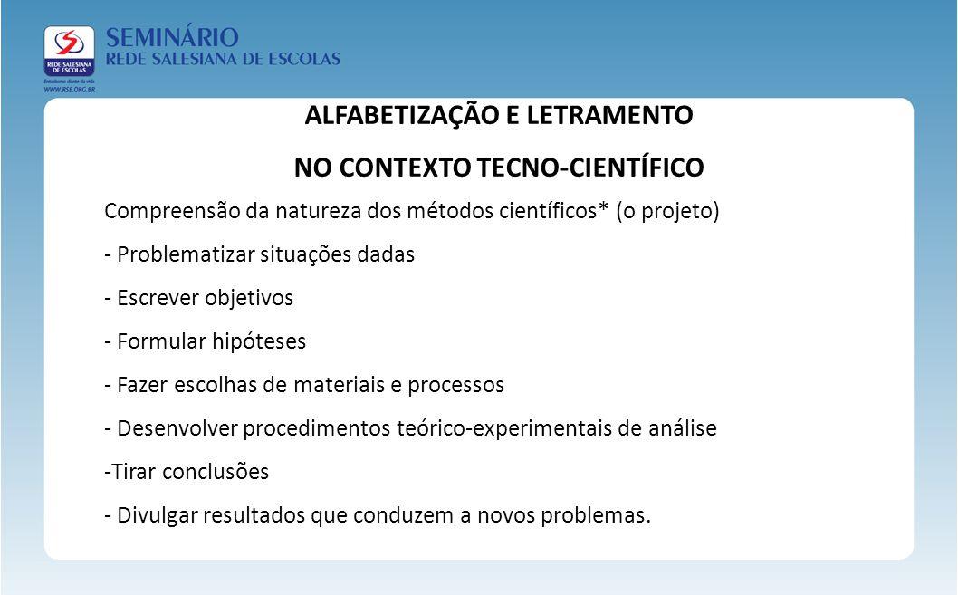 Compreensão da natureza dos métodos científicos* (o projeto) - Problematizar situações dadas - Escrever objetivos - Formular hipóteses - Fazer escolha