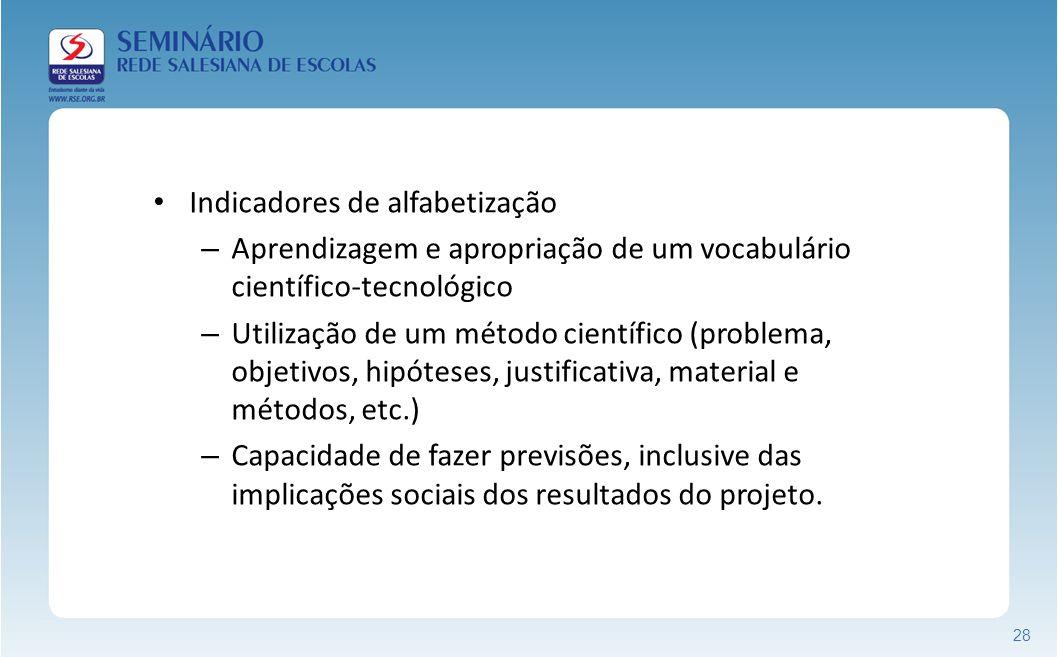 28 Indicadores de alfabetização – Aprendizagem e apropriação de um vocabulário científico-tecnológico – Utilização de um método científico (problema,