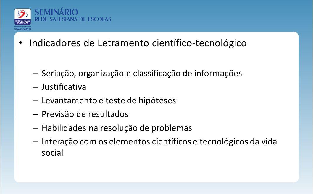 Indicadores de Letramento científico-tecnológico – Seriação, organização e classificação de informações – Justificativa – Levantamento e teste de hipó