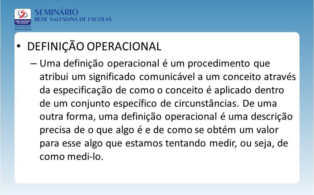 DEFINIÇÃO OPERACIONAL – Uma definição operacional é um procedimento que atribui um significado comunicável a um conceito através da especificação de c