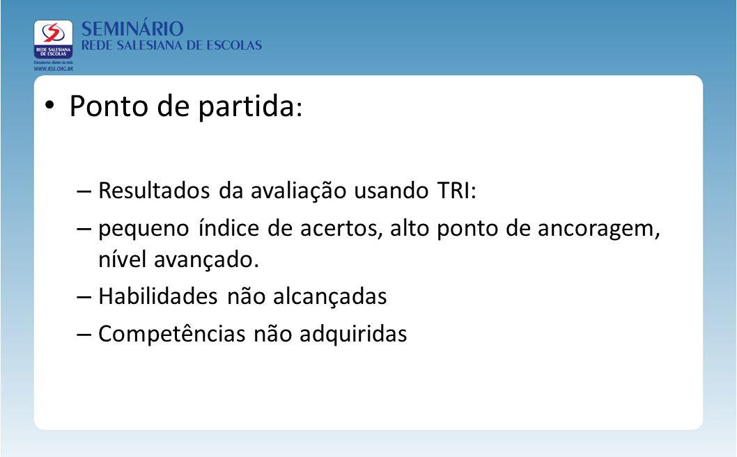 Ponto de partida : – Resultados da avaliação usando TRI: – pequeno índice de acertos, alto ponto de ancoragem, nível avançado. – Habilidades não alcan