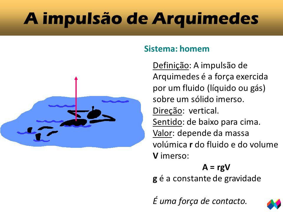 A impulsão de Arquimedes Sistema: homem Definição: A impulsão de Arquimedes é a força exercida por um fluido (líquido ou gás) sobre um sólido imerso.