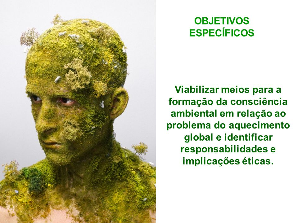 OBJETIVOS ESPECÍFICOS Viabilizar meios para a formação da consciência ambiental em relação ao problema do aquecimento global e identificar responsabilidades e implicações éticas.