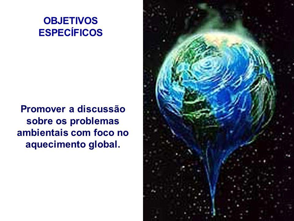 OBJETIVOS ESPECÍFICOS Promover a discussão sobre os problemas ambientais com foco no aquecimento global.