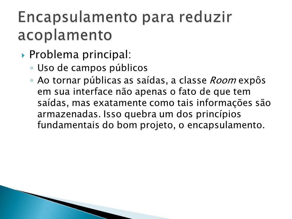  Problema principal: ◦ Uso de campos públicos ◦ Ao tornar públicas as saídas, a classe Room expôs em sua interface não apenas o fato de que tem saída
