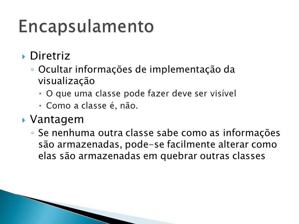  Diretriz ◦ Ocultar informações de implementação da visualização  O que uma classe pode fazer deve ser visível  Como a classe é, não.  Vantagem ◦