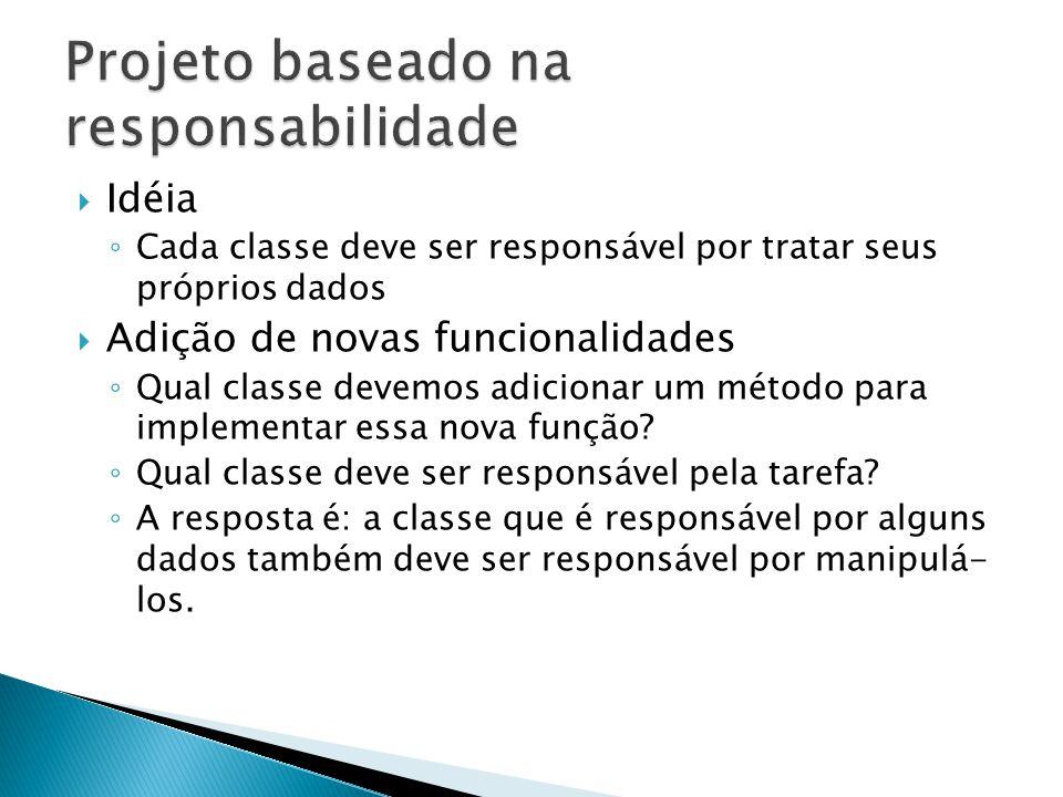  Idéia ◦ Cada classe deve ser responsável por tratar seus próprios dados  Adição de novas funcionalidades ◦ Qual classe devemos adicionar um método