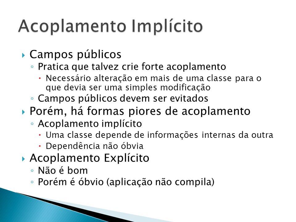  Campos públicos ◦ Pratica que talvez crie forte acoplamento  Necessário alteração em mais de uma classe para o que devia ser uma simples modificaçã