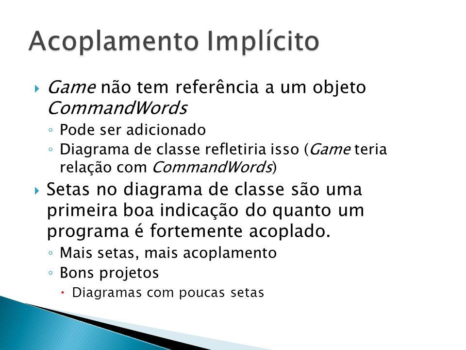  Game não tem referência a um objeto CommandWords ◦ Pode ser adicionado ◦ Diagrama de classe refletiria isso (Game teria relação com CommandWords) 