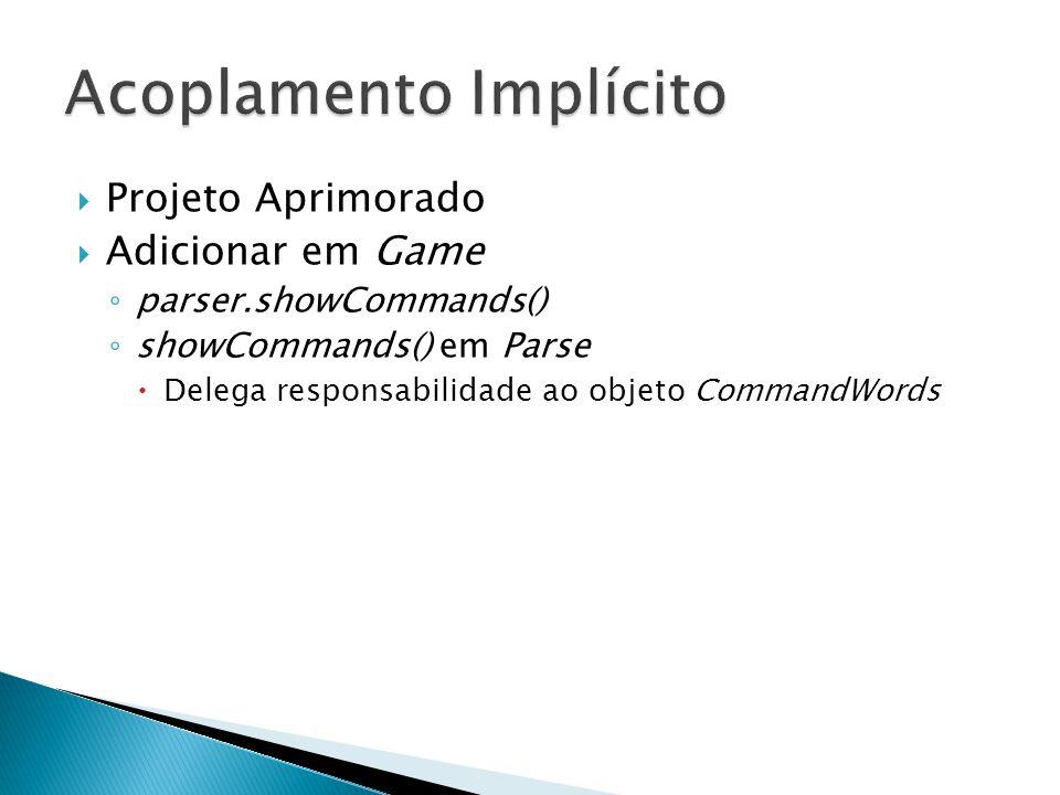  Projeto Aprimorado  Adicionar em Game ◦ parser.showCommands() ◦ showCommands() em Parse  Delega responsabilidade ao objeto CommandWords