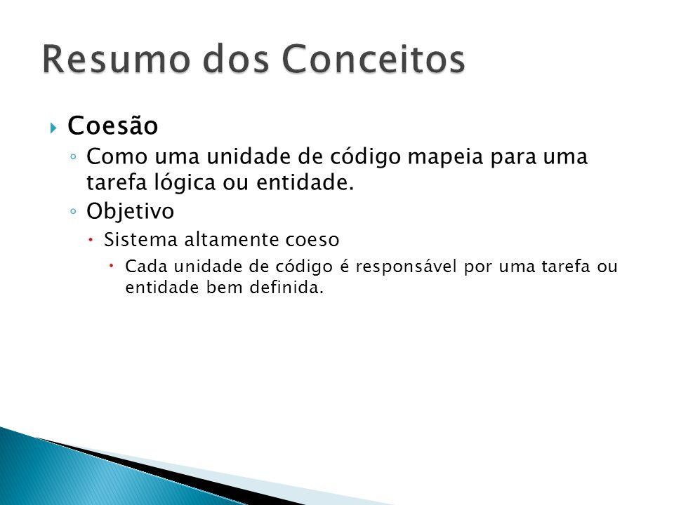  Coesão ◦ Como uma unidade de código mapeia para uma tarefa lógica ou entidade. ◦ Objetivo  Sistema altamente coeso  Cada unidade de código é respo