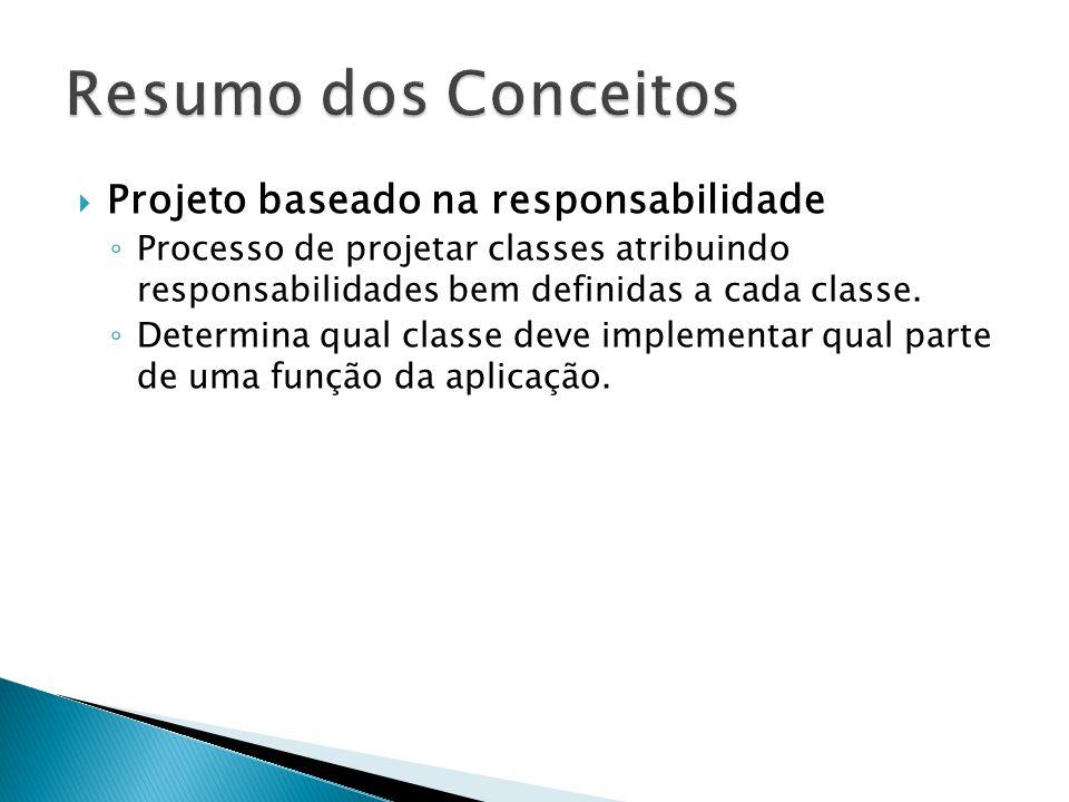  Projeto baseado na responsabilidade ◦ Processo de projetar classes atribuindo responsabilidades bem definidas a cada classe. ◦ Determina qual classe