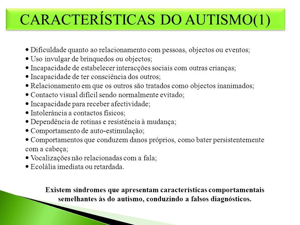 CARACTERÍSTICAS DO AUTISMO (2) CARACTERÍSTICAS DO AUTISMO (2) Não existem duas crianças com autismo iguais Os indivíduos não apresentam todos os sinais e sintomas associados ao autismo SÍNDROMA