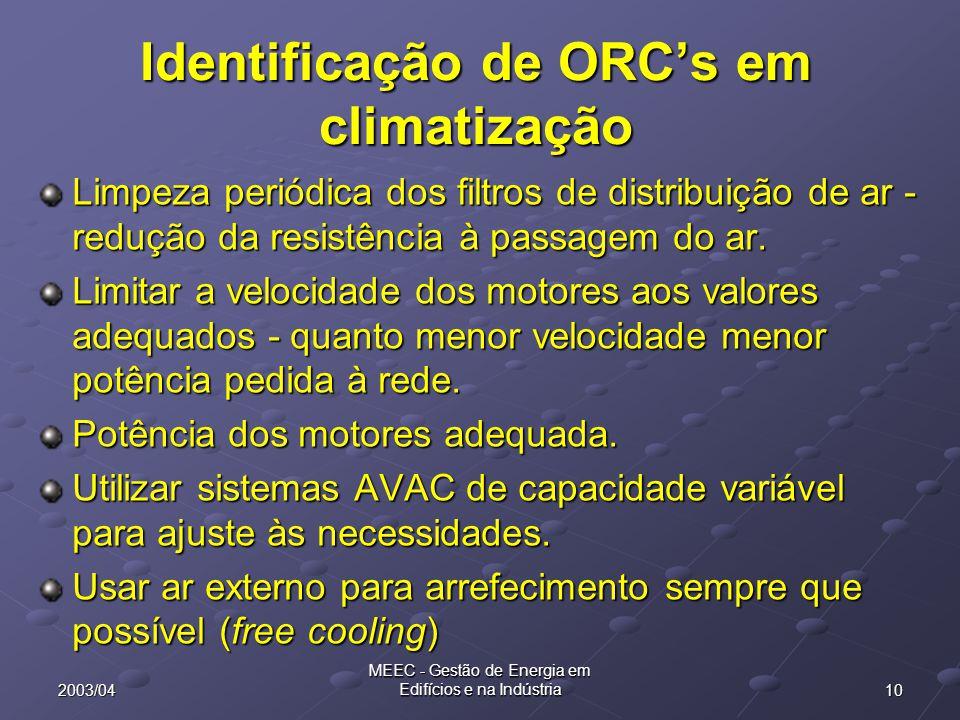102003/04 MEEC - Gestão de Energia em Edifícios e na Indústria Identificação de ORC's em climatização Limpeza periódica dos filtros de distribuição de