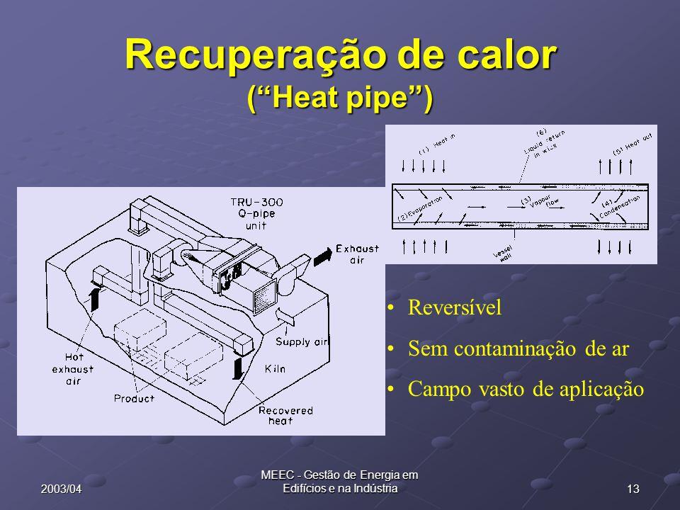 """132003/04 MEEC - Gestão de Energia em Edifícios e na Indústria Recuperação de calor (""""Heat pipe"""") Reversível Sem contaminação de ar Campo vasto de apl"""