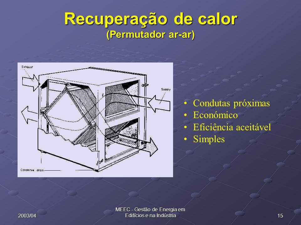152003/04 MEEC - Gestão de Energia em Edifícios e na Indústria Recuperação de calor (Permutador ar-ar) Condutas próximas Económico Eficiência aceitáve