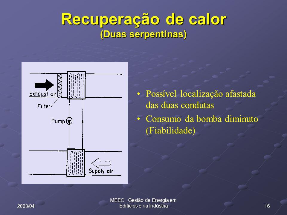 162003/04 MEEC - Gestão de Energia em Edifícios e na Indústria Recuperação de calor (Duas serpentinas) Possível localização afastada das duas condutas
