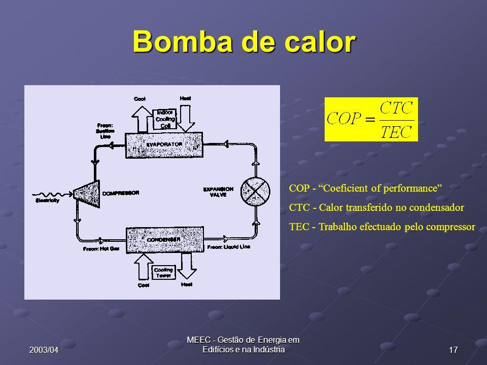 """172003/04 MEEC - Gestão de Energia em Edifícios e na Indústria Bomba de calor COP - """"Coeficient of performance"""" CTC - Calor transferido no condensador"""