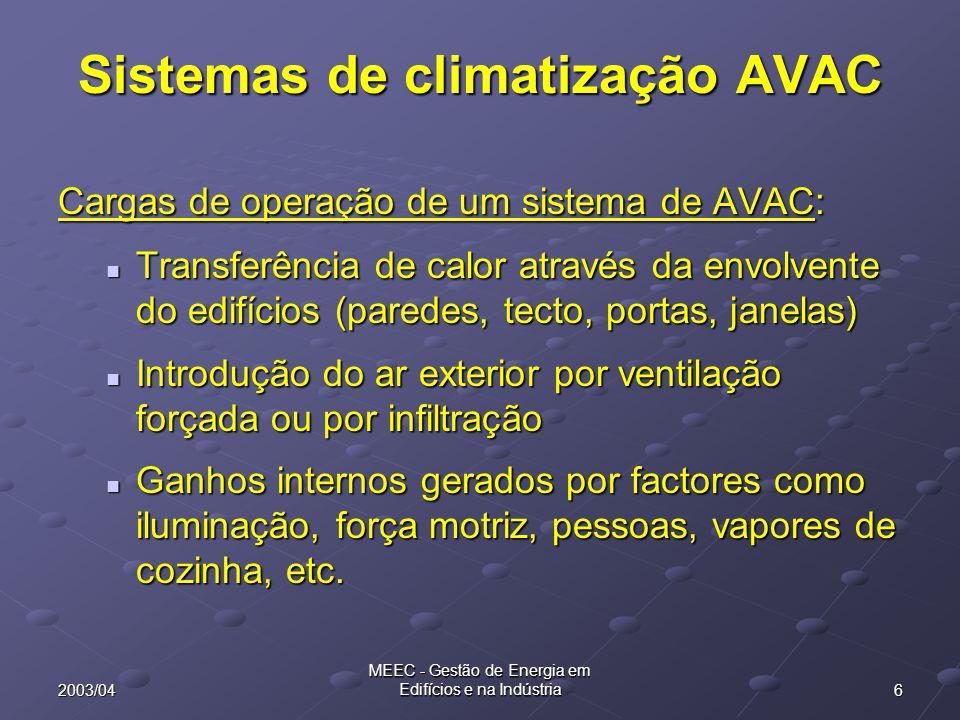 62003/04 MEEC - Gestão de Energia em Edifícios e na Indústria Sistemas de climatização AVAC Cargas de operação de um sistema de AVAC: Transferência de