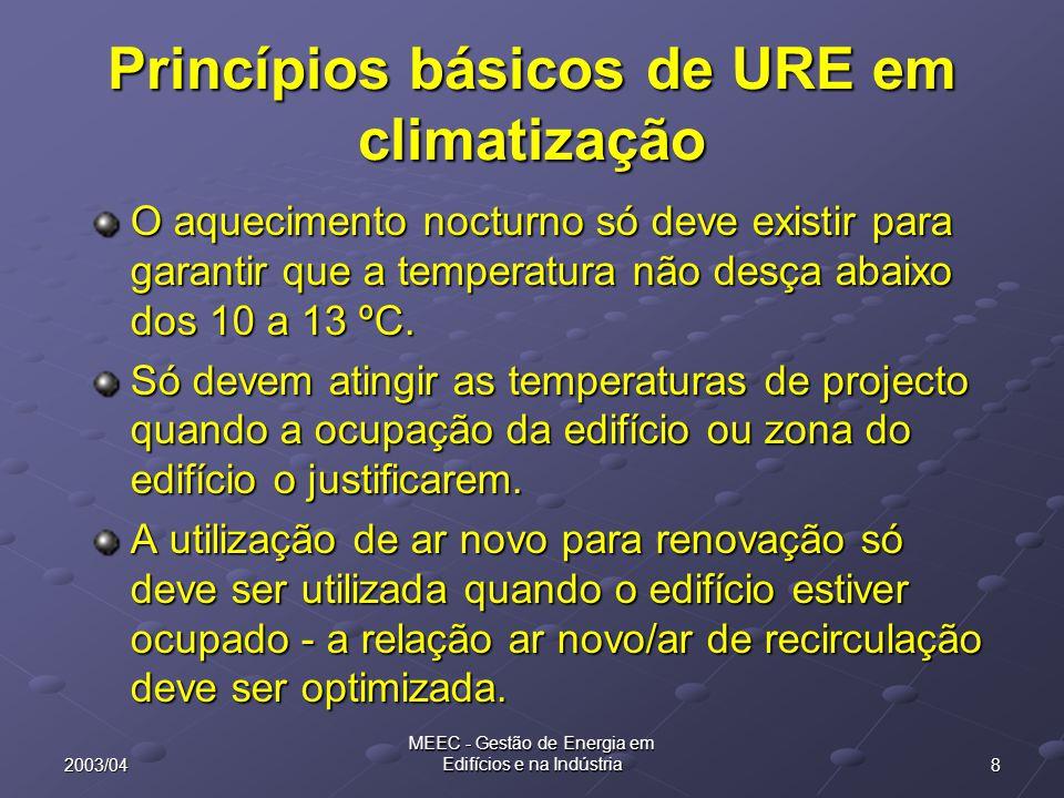 92003/04 MEEC - Gestão de Energia em Edifícios e na Indústria Princípios básicos de URE em climatização Evitar o arrefecimento e o aquecimento simultâneos.