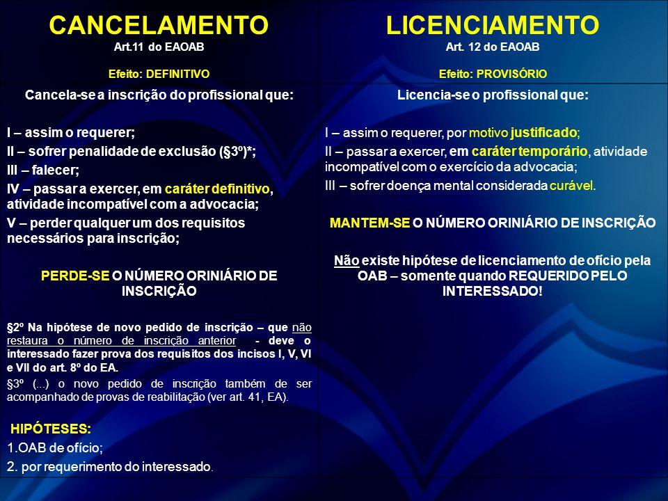 CANCELAMENTO Art.11 do EAOAB Efeito: DEFINITIVO LICENCIAMENTO Art. 12 do EAOAB Efeito: PROVISÓRIO Cancela-se a inscrição do profissional que: I – assi