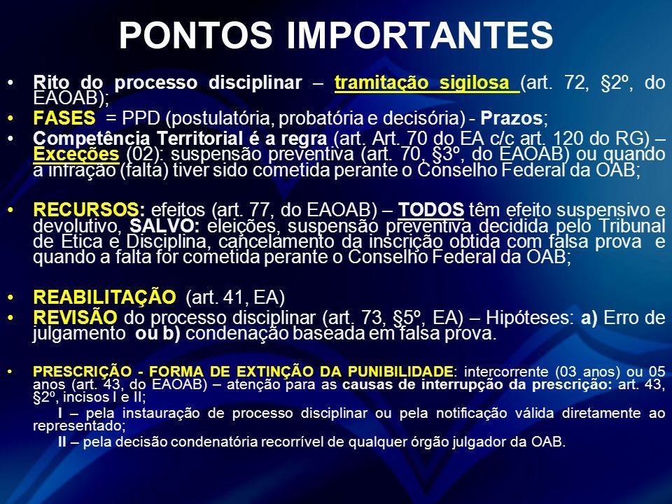 PONTOS IMPORTANTES Rito do processo disciplinar – tramitação sigilosa (art.