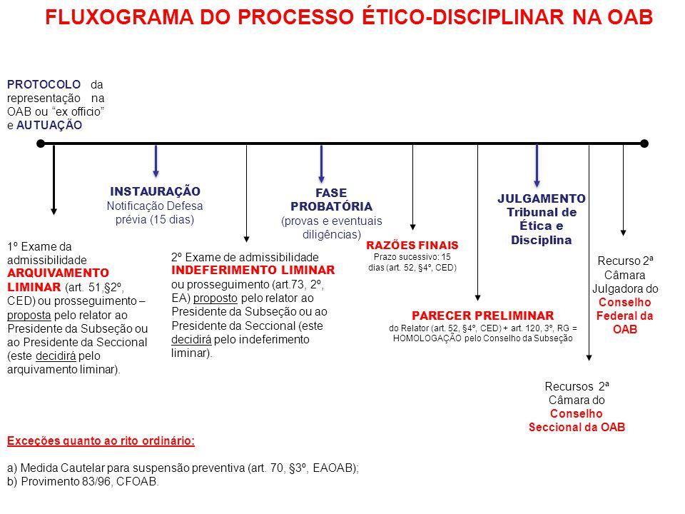 PROTOCOLO da representação na OAB ou ex officio e AUTUAÇÃO 1º Exame da admissibilidade ARQUIVAMENTO LIMINAR (art.