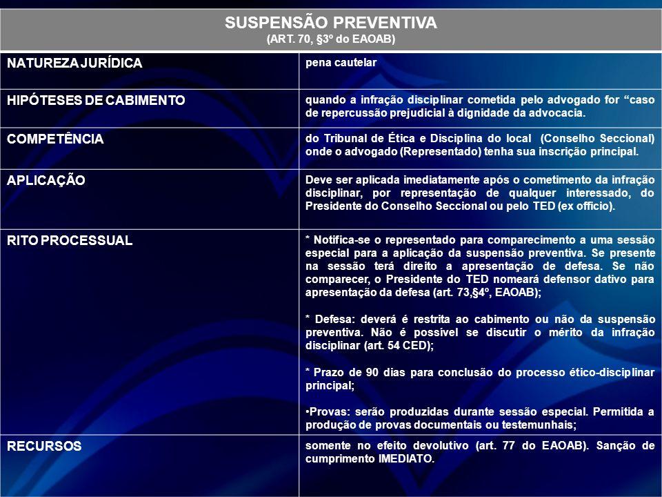 SUSPENSÃO PREVENTIVA (ART. 70, §3º do EAOAB) NATUREZA JURÍDICA pena cautelar HIPÓTESES DE CABIMENTO quando a infração disciplinar cometida pelo advoga