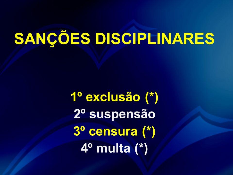 SANÇÕES DISCIPLINARES 1º exclusão (*) 2º suspensão 3º censura (*) 4º multa (*)