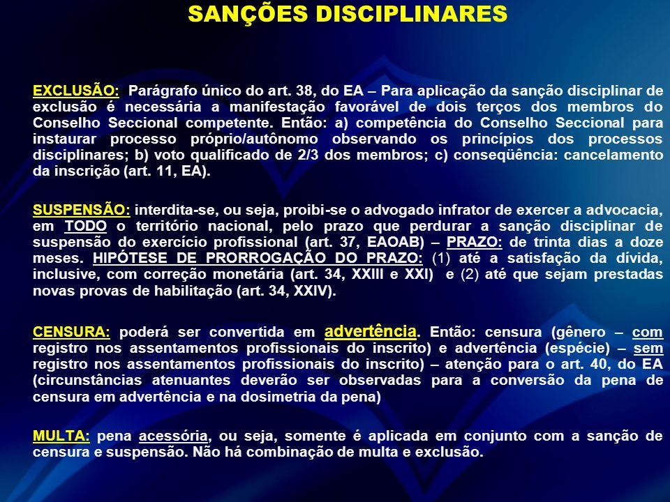 SANÇÕES DISCIPLINARES EXCLUSÃO: Parágrafo único do art. 38, do EA – Para aplicação da sanção disciplinar de exclusão é necessária a manifestação favor