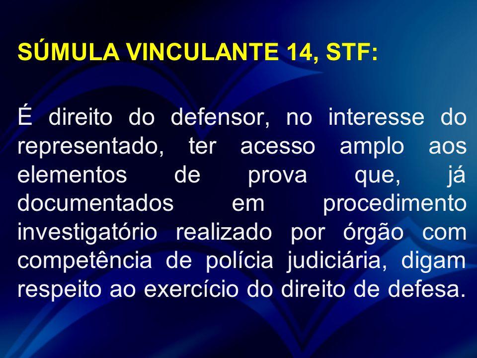 SÚMULA VINCULANTE 14, STF: É direito do defensor, no interesse do representado, ter acesso amplo aos elementos de prova que, já documentados em proced