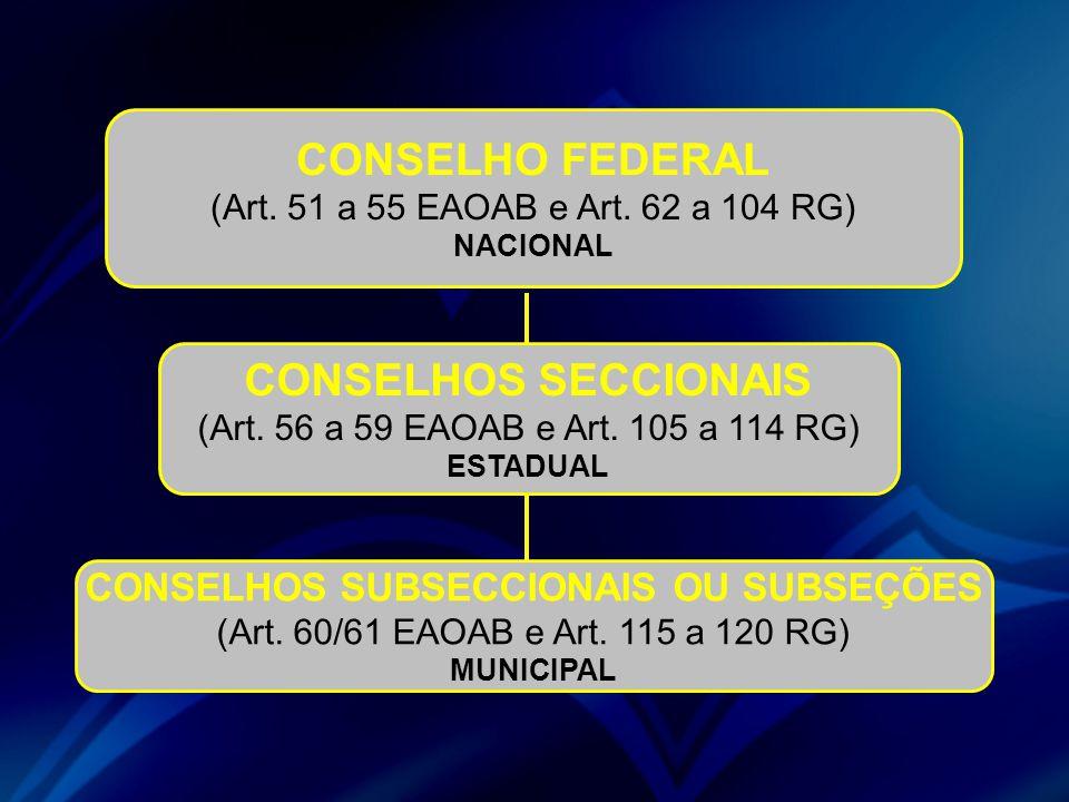 CONSELHO FEDERAL (Art. 51 a 55 EAOAB e Art. 62 a 104 RG) NACIONAL CONSELHOS SECCIONAIS (Art. 56 a 59 EAOAB e Art. 105 a 114 RG) ESTADUAL CONSELHOS SUB