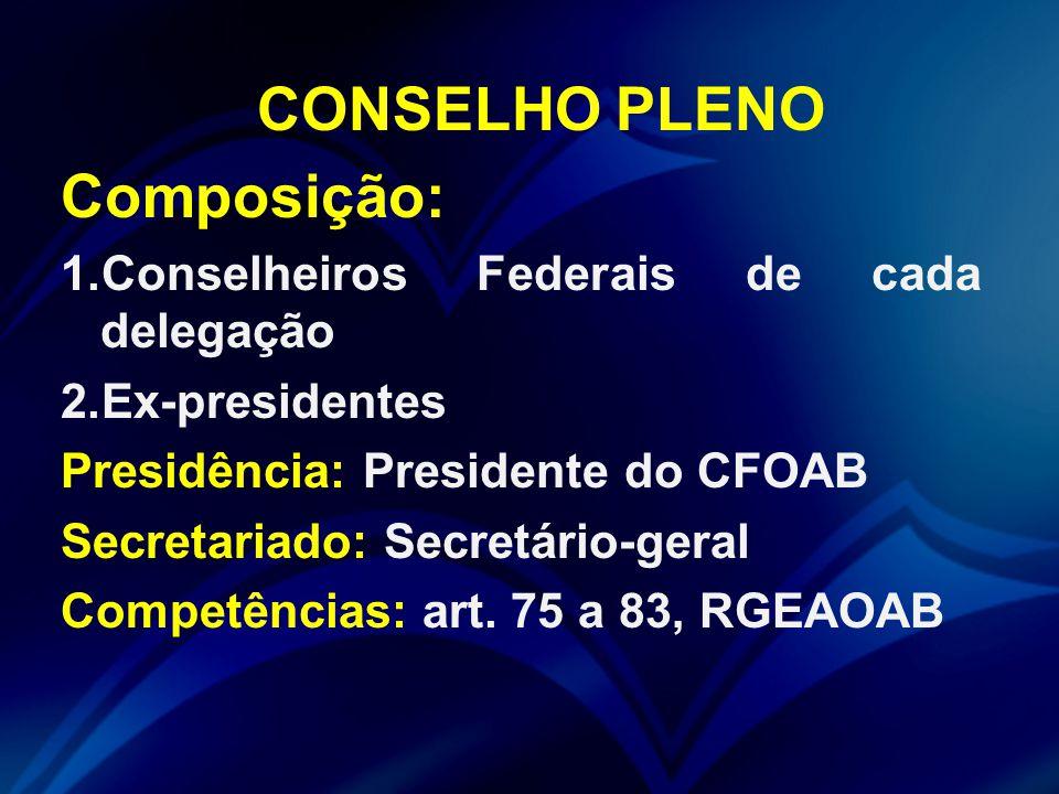 CONSELHO PLENO Composição: 1.Conselheiros Federais de cada delegação 2.Ex-presidentes Presidência: Presidente do CFOAB Secretariado: Secretário-geral Competências: art.