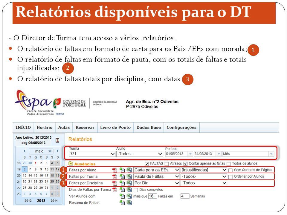 Relatórios disponíveis para o DT - O Diretor de Turma tem acesso a vários relatórios. O relatório de faltas em formato de carta para os Pais /EEs com