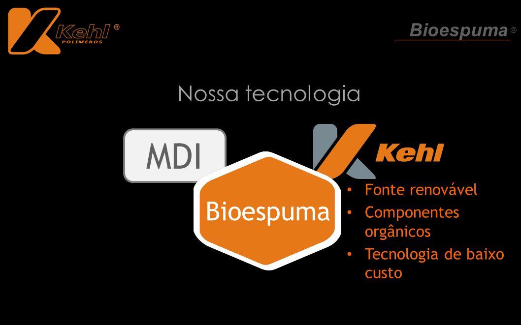 MDI Nossa tecnologia Bioespuma Fonte renovável Componentes orgânicos Tecnologia de baixo custo Bioespuma ®