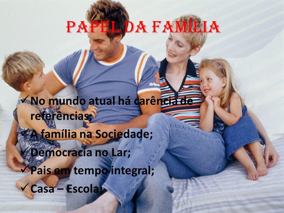 PAPEL DA FAMÍLIA No mundo atual há carência de referências; A família na Sociedade; Democracia no Lar; Pais em tempo integral; Casa – Escola;
