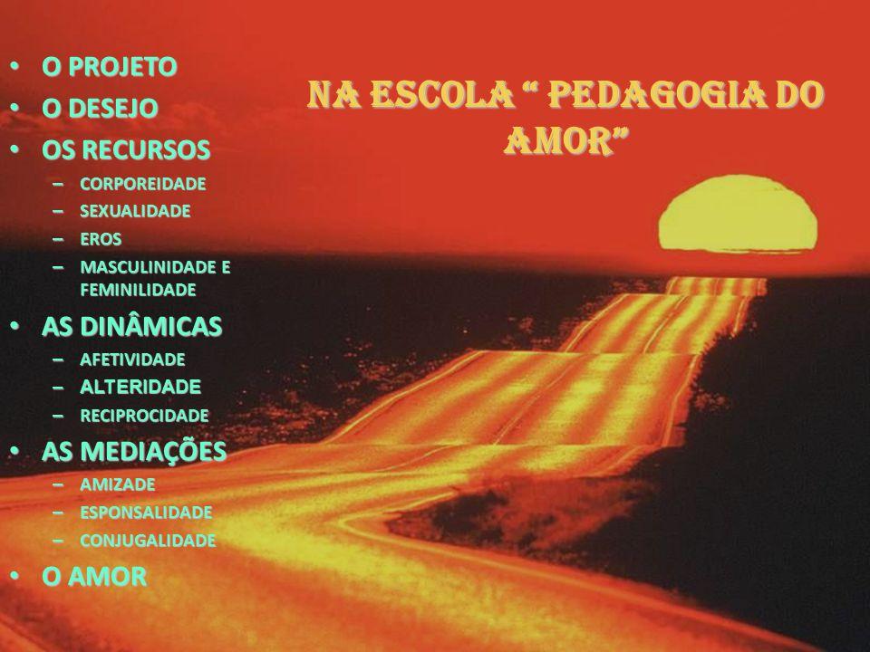 "NA ESCOLA "" PEDAGOGIA DO AMOR"" OPROJETO ODESEJO OS OS RECURSOS – CORPOREIDADE – SEXUALIDADE – EROS – MASCULINIDADE – MASCULINIDADE E FEMINILIDADE AS A"