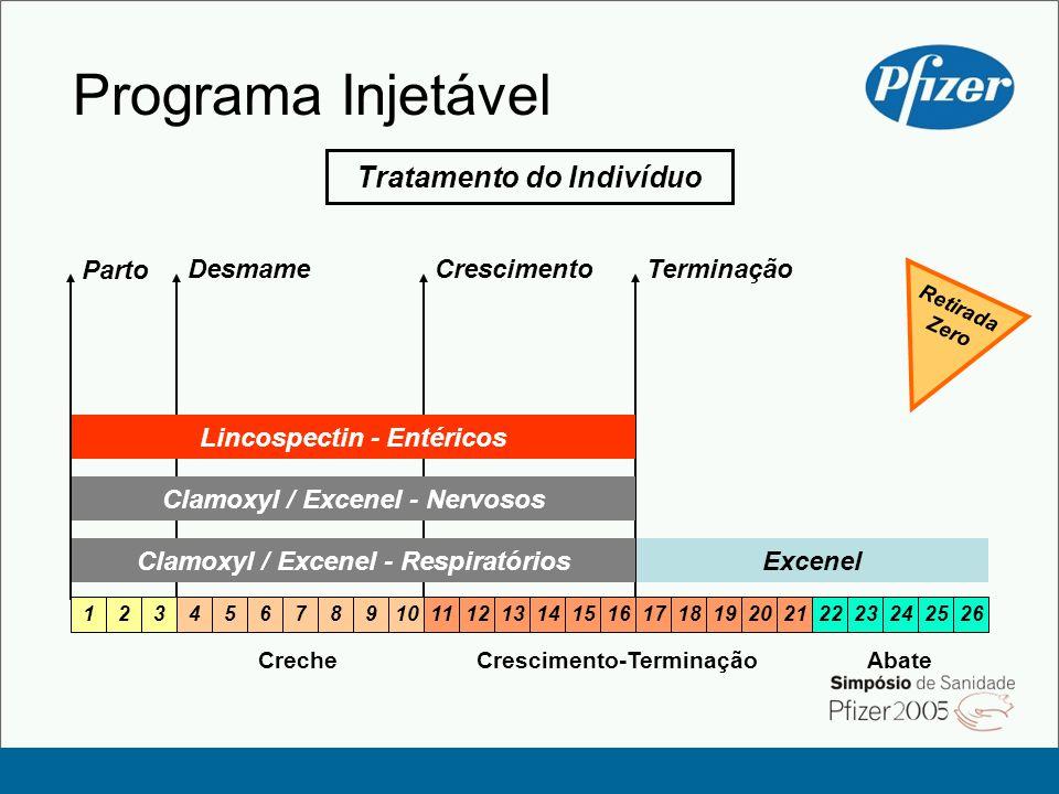 Excenel Programa Injetável Clamoxyl / Excenel - Respiratórios CrecheCrescimento-Terminação 1234567891011121314151617181920212223242526 Abate Tratamento do Indivíduo Clamoxyl / Excenel - Nervosos Lincospectin - Entéricos DesmameCrescimento Parto Terminação Retirada Zero