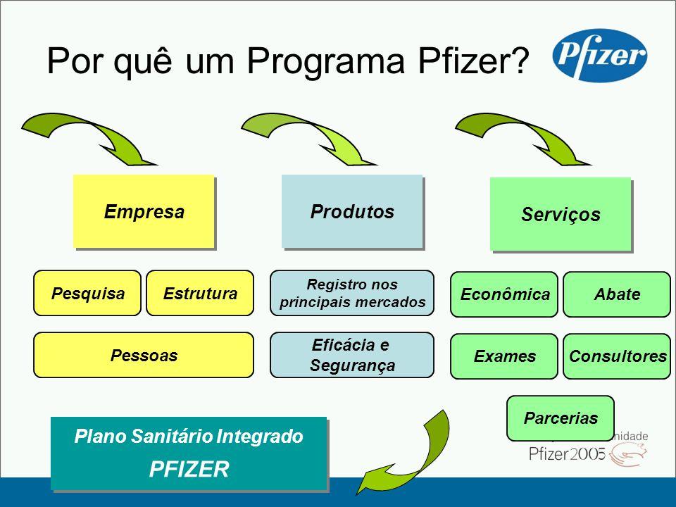 Por quê um Programa Pfizer? Plano Sanitário Integrado PFIZER Plano Sanitário Integrado PFIZER Empresa PesquisaEstrutura Pessoas Serviços Econômica Exa
