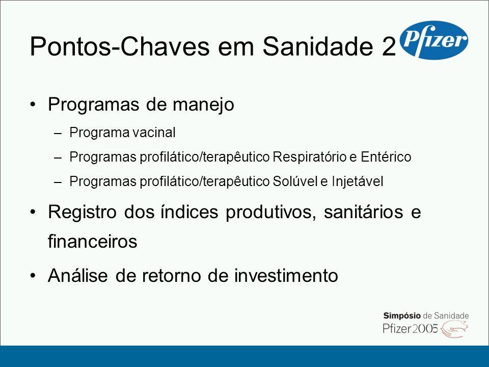 Pontos-Chaves em Sanidade 2 Programas de manejo –Programa vacinal –Programas profilático/terapêutico Respiratório e Entérico –Programas profilático/te