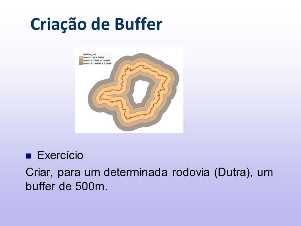 Criação de Buffer Exercício Criar, para um determinada rodovia (Dutra), um buffer de 500m.